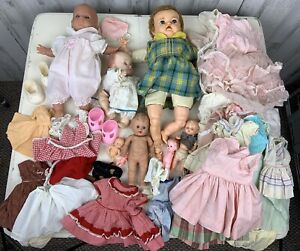 Vintage-Baby-Dolls-amp-Clothes-Lot-Ideal-Effanbee-TodLtot-Parts-Shoes-Composition