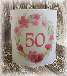4 X Tischlicht Windlicht Tischdeko Deko Runder Geburtstag Blumen