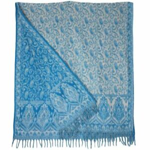 SHAWL PASHMINA WRAP SCARF FLEECE BLANKET HIPPIE FESTIVAL Light Blue & White