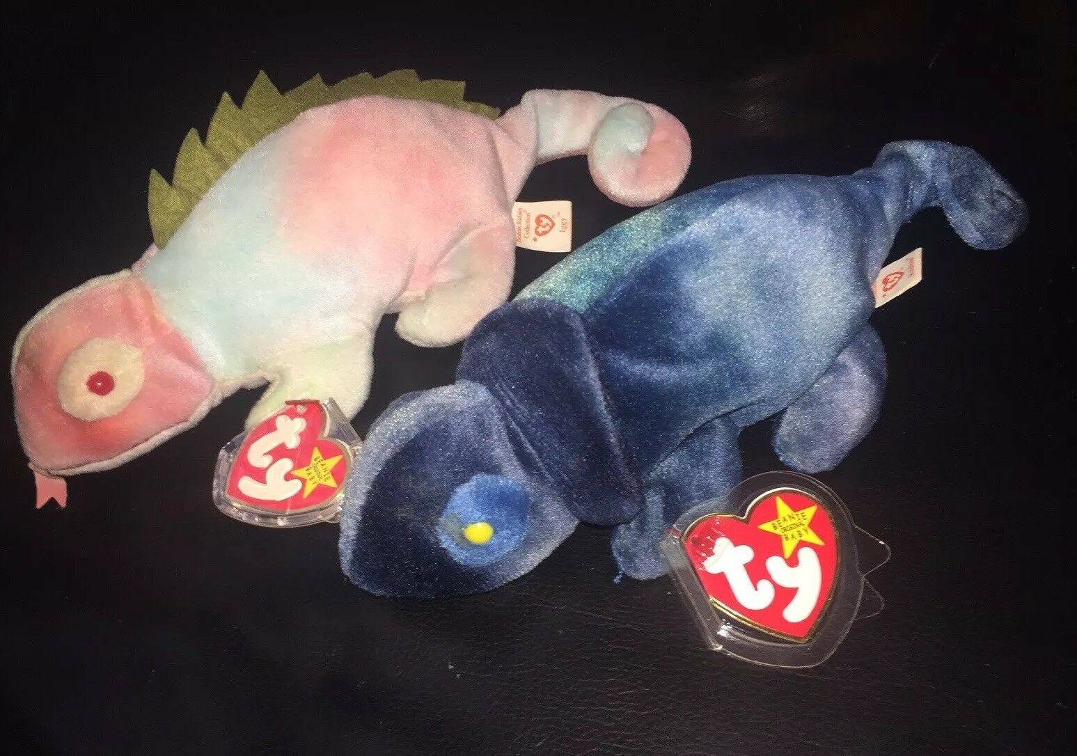 Very Rare Retired 1997 TY Iggy And Rainbow Original Beanie Babies With Tags
