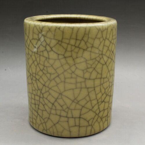 "4.7/""Collect Folk Chinese Ceramics Song Ge Kiln Porcelain Brush Pot Pencil Vase"
