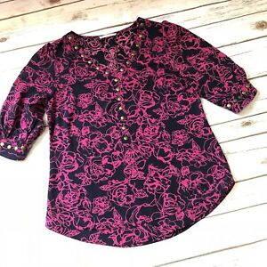 22e8dbcc34c Stitch Fix 41 Hawthorn Womens Top Floral V Neck Rivets Detail Blouse ...