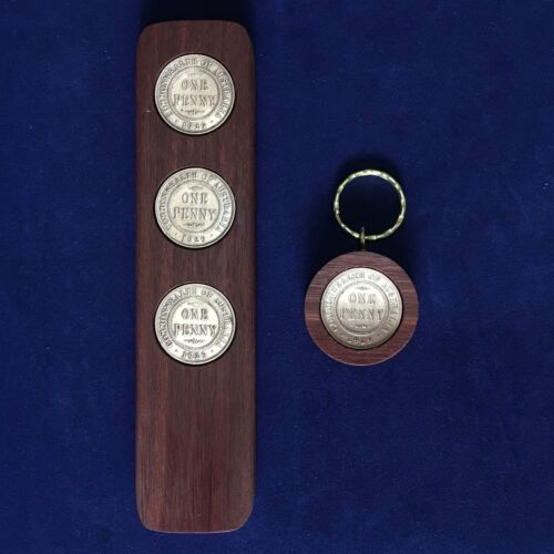 50th Wedding Anniversary Gift 1969 Jarrah Two-Up Game /& Penny Keyring Gift Pack