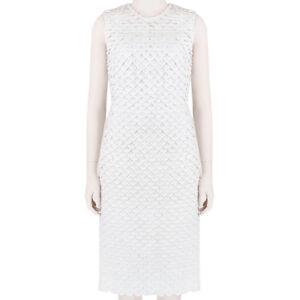 Stella McCartney Optic White Slim Fitting Textured Overlay Tulle Dress IT40 UK8