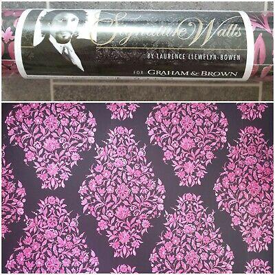 FD13890 LUXURY HEAVYWEIGHT FLOWER BLOOM BLACK PINK FEATURE DESIGNER WALLPAPER