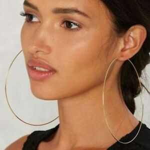 Gold-Silver-Large-Round-Hoop-Earrings-4-10cm-Shiny-Huge-Big-Hoops-Earring-Gift