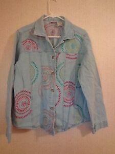 femme Veste 12 en pour Stag Large jean 14 Taille Blue blanche Zq6qYWxwfa