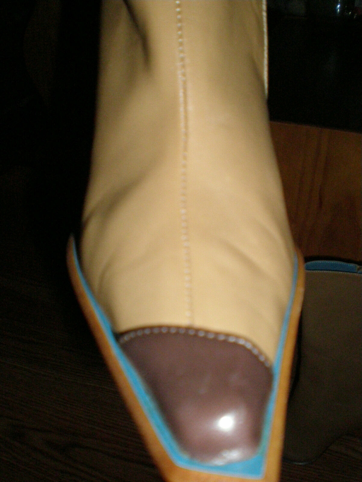 GENUINE ITALIAN TAN LEATHER BOOTS, SIZE 6.5, NEW IN BOX, GENUINE LEATHER
