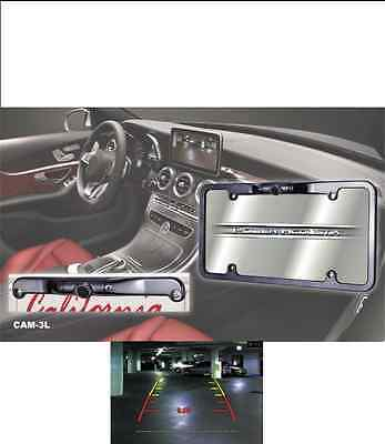 NEW PA CAM-4LF Black Chrome License Plate Rear View Camera Backup Distance Gauge
