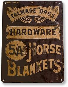 Horse Blankets Farm Ranch Barn Rustic Country Decor Tin Metal Sign