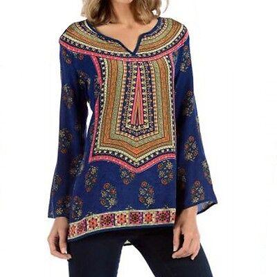 Tolani Zoe Blouse Navy Multicolored Blue Silk Fashion Apparel S M L