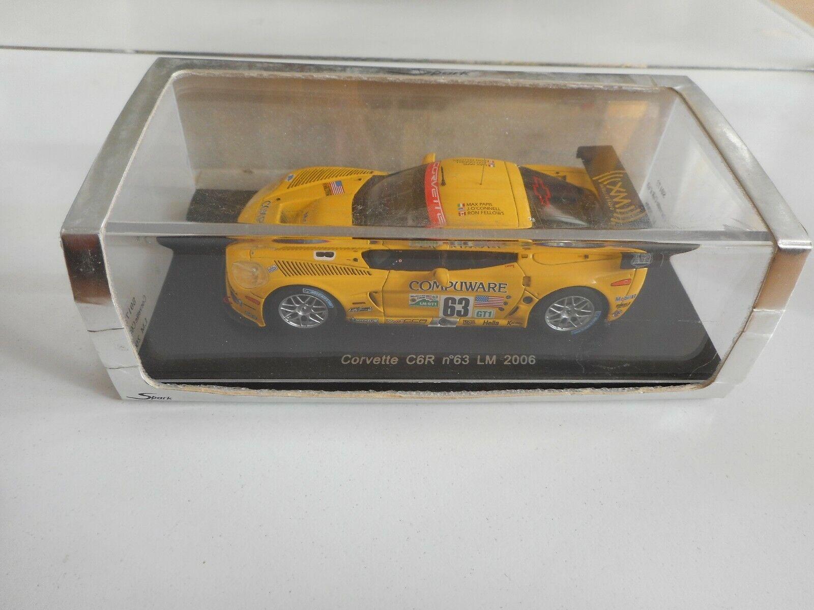 Spark  Corvette C6R  63 Le Mans 2006 in jaune on 1 43 in Box  expédition rapide