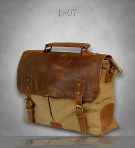 NEW Men s Vintage Canvas Genuine Leather Postman Shoulder Bag ... ff8de9c1cbef7