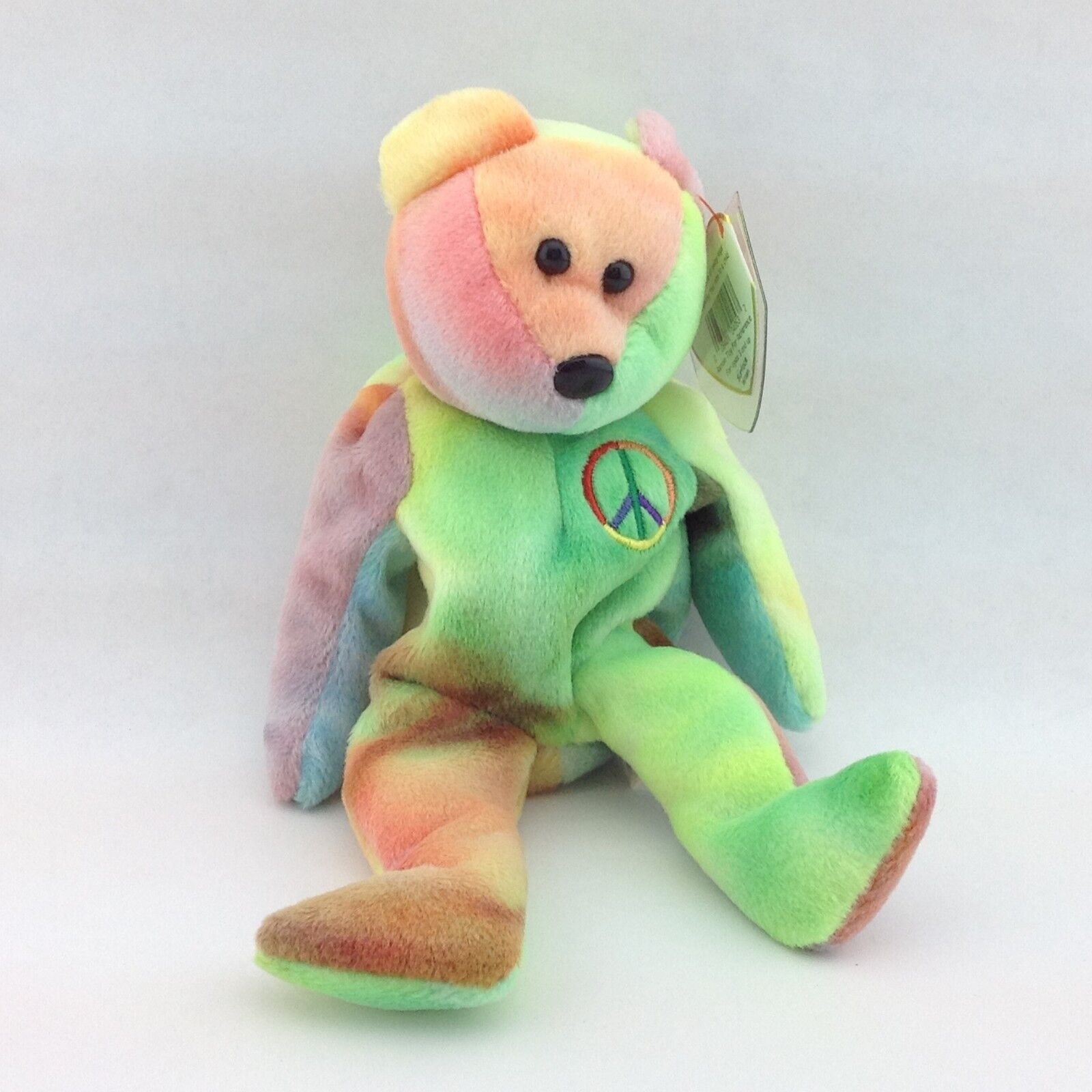 TY Beanie Baby 1996 PEACE Bear with Errors and P.E. Pellets MINT