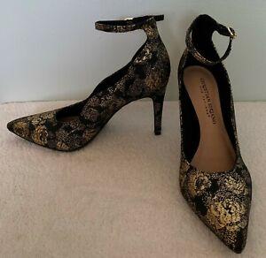 christian siriano kenni black gold floral ankle strap high