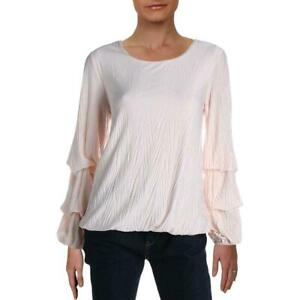 Alfani-Womens-Blouse-Pink-Size-Large-L-Tiered-Ruched-Sleeves-Scoop-Neck-59-121