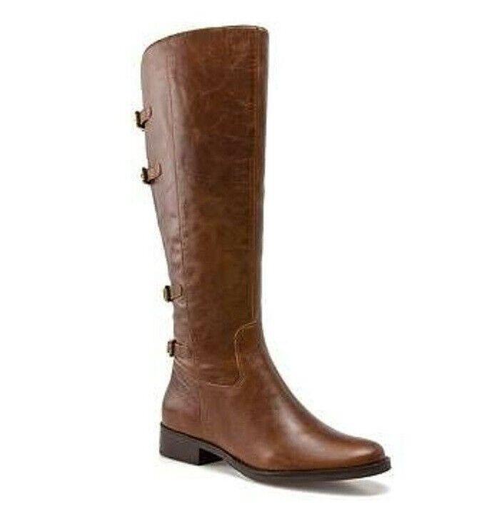 Matisse calzado Becky Marrón Cuero Bota Alta con aspecto envejecido plana 7.5