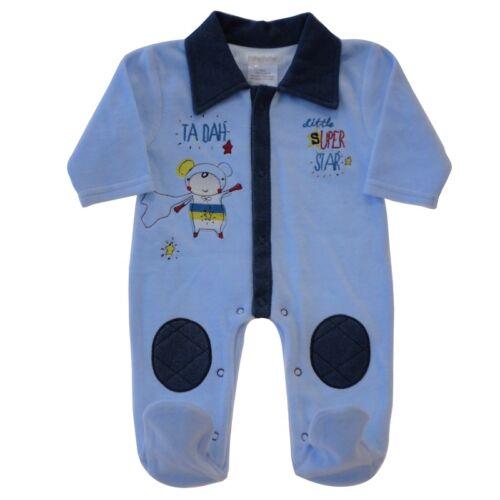 Pitter Patter Romper Baby Boy Velour All in One Babygrow Sleepsuit