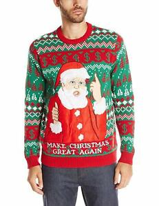 Blizzard-Bay-Men-039-s-The-Don-Ugly-Christmas-Sweater-Green-Red-Large