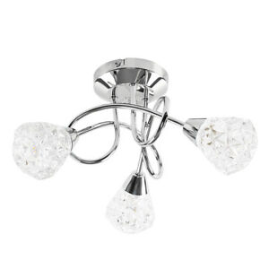 Modern Chrome 3 Way Cross Over Ceiling Light Fitting Crystal Style Lamp Shades6