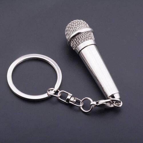 Creative Microphone Key Ring Metal Keychain Key Charms Pendant Gift sale