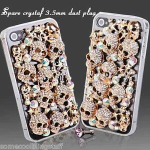 3D DELUX COOL LUXURY BLING GOLD SKULL DIAMANTE CASE SAMSUNG IPHONE HTC SONY IPOD