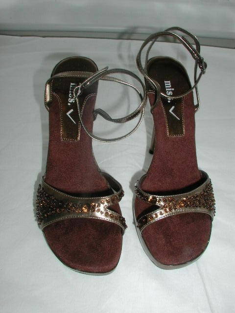 MISS V  GOLD & BROWN SEQUINNED 5 STILETTO SANDALS  size 5 SEQUINNED  (think they are unworn) cdf136