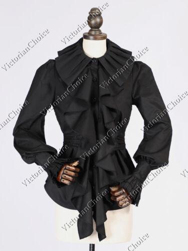 Victorian Choice Vintage Black Ruffle Balloon Sleeve Blouse Shirt Steampunk B027