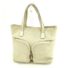d7c9c602b437 Gucci Tote bag G logos Beige White Woman Authentic Used S422