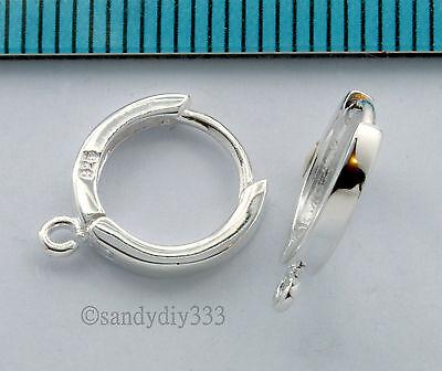 2x STERLING SILVER PLAIN ROUND HOOP EAR WIRE DANGLE EARWIRE 11mm EARRINGS #1031