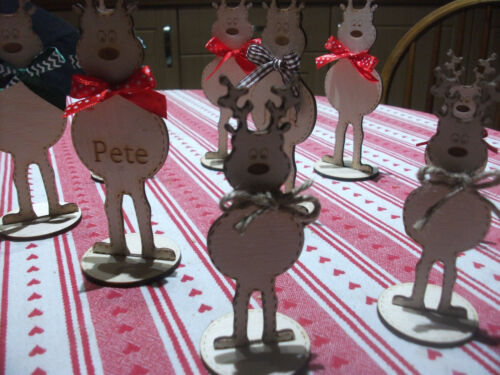 Wooden Reindeer Personalised christmas decoration or Table place setting
