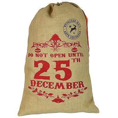 Santa Sack Present Hessian Gift Xmas Stocking - Do Not Open Until 25th December