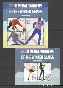 PK445 2014 GAMBIA GOLD MEDAL WINNERS WINTER GAMES #7008-10 MICHEL 16 EU 2KB MNH