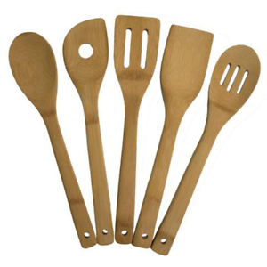 Details about Wooden Spoons Bamboo Set Kitchen Utensil Cooking Tools Wood  Spatula Kit 5 Piece