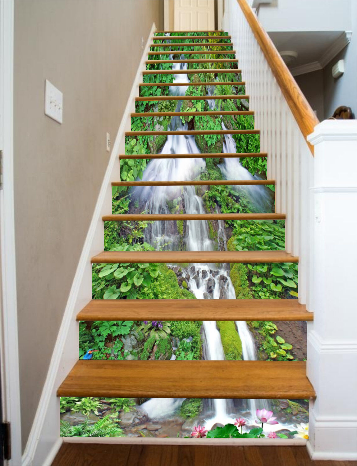 3D Grün leaves 76 Stair Risers Decoration Photo Mural Vinyl Decal Wallpaper UK