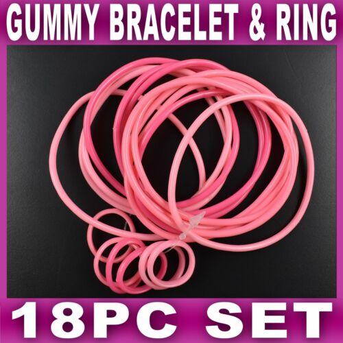 SET of 18 PINK GUMMY BRACELETS Shag bands bangle wristbands gummies girls womens