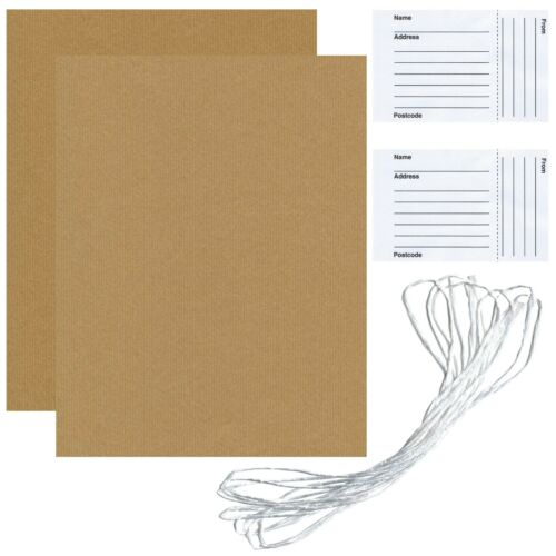 2 Sheets Gift Wrapping Brown Paper 75 cm x 100 cm With 2 Address Labels /& String