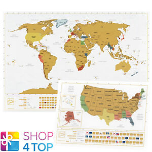 WORLD AND USA SCRATCH MAP SET TRAVEL TRACKER JOURNAL WALL POSTER ...