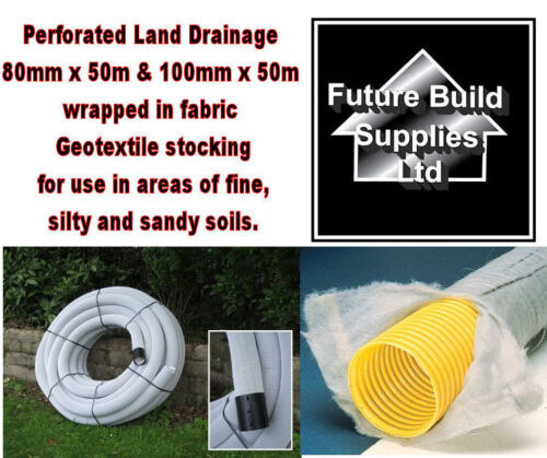 80mm x 50m /& 100mm x 50m Perforated Land Drain Wrapped in Non Woven Geotextile