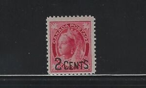 CANADA - #87 - 2c on 3c QUEEN VICTORIA MAPLE ISSUE PROVISIONAL MINT STAMP (1899)