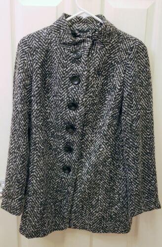 Jacket Ann Winter Nwt Hvid Sort Taylor Petite 4p Fall Button EzYzAq
