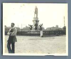 Italia-Livorno-Monumento-di-Ferdinand-I-Vintage-silver-print-Vintage-Italy