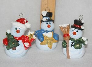Artist Christmas Ornaments.Details About 3 Hand Painted Ceramic 3 5 Inches Snowmen Christmas Ornaments Signed By Artist