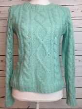 Womens H&M Woven Sweater Mint Green Mohair And Wool Blend Small