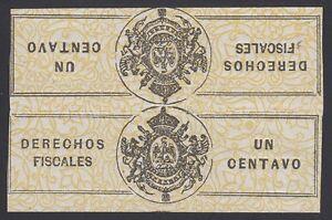MEXICO, 1863. Revenue Derechos Fiscal DF1D tete-beche, Mint