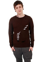 MENS INDIE 60'S 70s RETRO NEW VINTAGE BROWN HUNTING COUNTRY SCENE JUMPER XS S XL