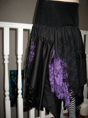 NEW Witchy Black Purple lace Jagged Pixie Long Gothic party Rock Skirt All Sizes