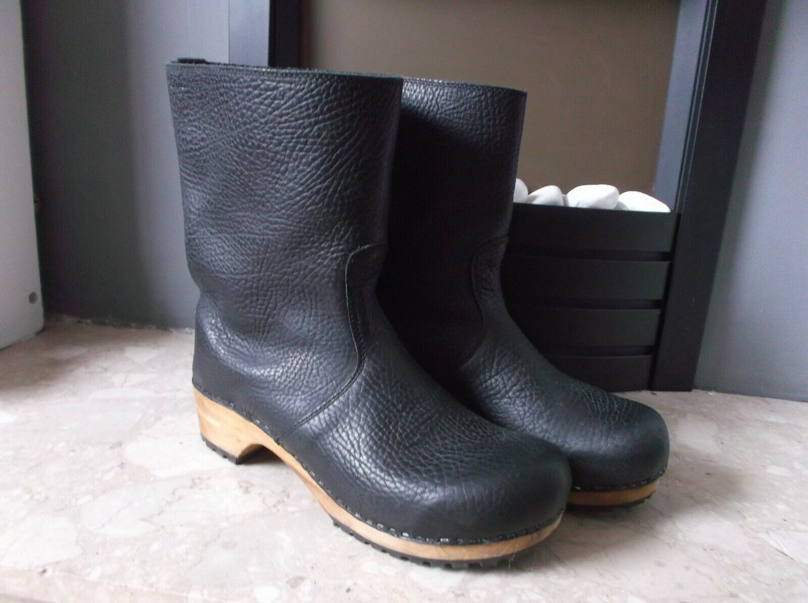 Lotta from Stockholm Sanita Risotto Black Soft Oil Leather Boots Size EU 42 UK 8