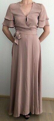 H&M Wickelkleid Kleid rosa S Maxikleid Hochzeit Blogger | eBay