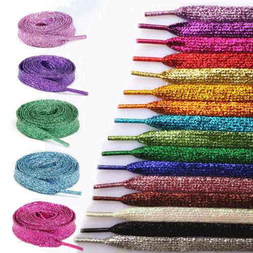 16Pair Glitter Flat Shoelaces Metallic Color Fancy Dress Party Sparkly Shoe Lace